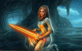 Preview wallpaper Holding a orange lightsaber fantasy girl