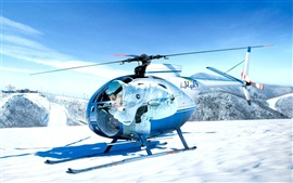 Mini helicopters on the snow-capped mountain