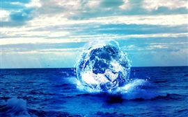Preview wallpaper Sea blue planet creative graphics