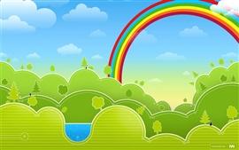 預覽桌布 矢量綠色春天彩虹