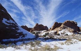 American landscape, snow-capped mountains in winter