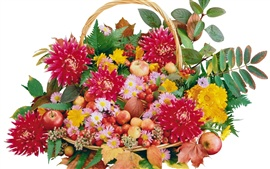 Baskets of flowers and fruit