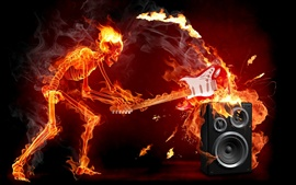 Preview wallpaper Flame Skull guitarist speaker