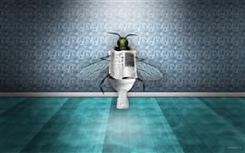 Aperçu fond d'écran Des mouches dans les toilettes en lisant le journal