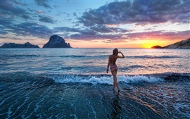 Preview wallpaper Girl sunset sea waves