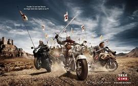 Cavaleiro da motocicleta na guerra antiga