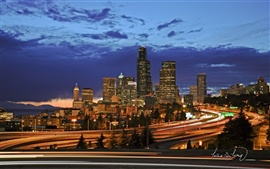 Preview wallpaper Seattle city night lights