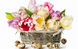 Tulips and quail eggs in the basket