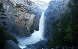 Preview wallpaper Yosemite National Park California USA, cliff waterfall