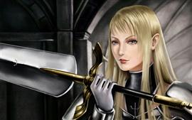 Blond girl guerreiro fantasia