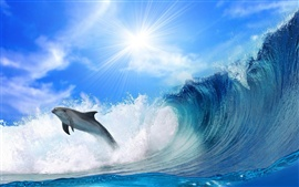 Preview wallpaper Chase dolphins and sea waves