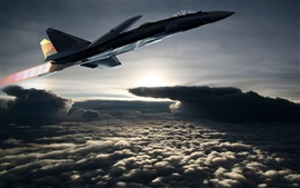 Preview wallpaper Fighter aircraft flying out of the clouds