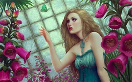 Flowers butterfly fantasy girl Wallpapers Pictures Photos Images
