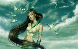 Голуби сопровождал девушку в зеленом фантазии
