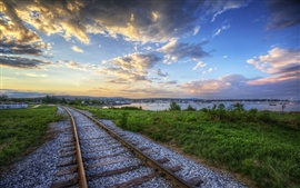 Railroads at sunset