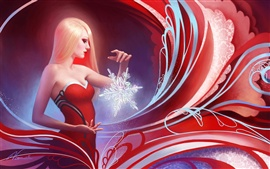 Preview wallpaper Red dress fantasy girl with snowflakes