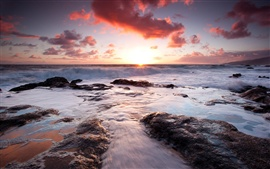 Preview wallpaper The attractive red sunset beach