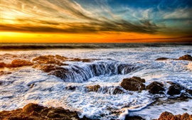 The waves of the sunset coast Wallpapers Pictures Photos Images