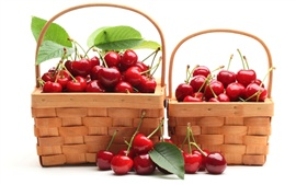 Preview wallpaper Two baskets of red cherries