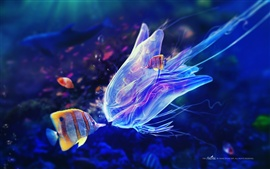 Preview wallpaper Underwater world, jellyfish and clown fish