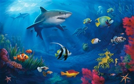 Preview wallpaper Underwater world, sharks