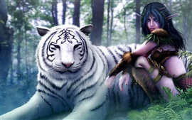 Preview wallpaper Wizard girl with the white tiger