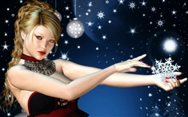 Preview wallpaper 3D girl with Christmas snow