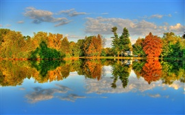Autumn Lake and Maple HDR landscape