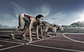 Creative pictures, athletes and cheetah race