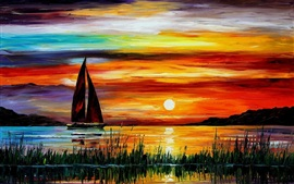 Exquisite painting, sunset sea boat