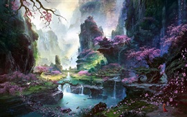 Preview wallpaper Fantastic world painting, Oriental spring landscapes