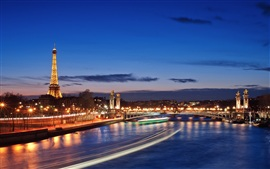 French cities of Paris night scene