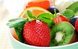 Fresh fruits, strawberries, kiwi, oranges