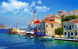 Preview wallpaper Greece pier boat and house