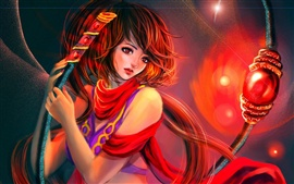 Preview wallpaper Red-style fantasy girl