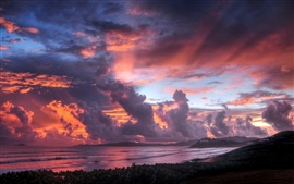 Preview wallpaper Seaside sunset sky clouds