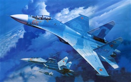 Preview wallpaper Su-27 military fighter in blue sky