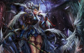 Preview wallpaper The fantasy girl wings of feathers