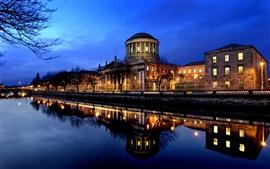 Aperçu fond d'écran La ville riveraine scène de nuit en Irlande