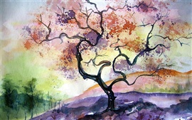Preview wallpaper Watercolor cherry tree