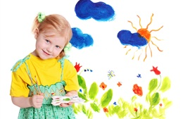 Preview wallpaper Watercolor painting of the blond little girl