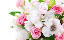 A bouquet flowers, pink roses, white orchids