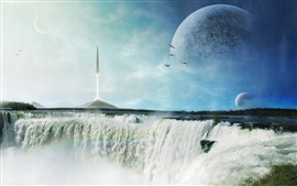 Preview wallpaper Art pictures, waterfall, planet, rocket