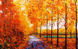 Art watercolor, autumn red maple forest with forest path