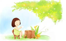 Preview wallpaper Child theme painting, little girl tea under a tree