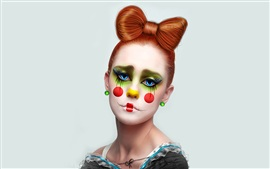 Clown girl, brown hair
