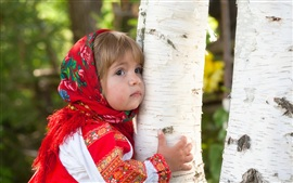 Preview wallpaper Cute little girl hug a tree