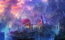 Exquisite watercolors, morning mist mountain temple and waterfalls