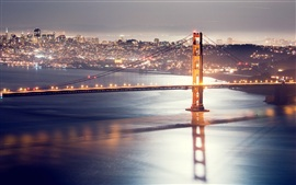 Preview wallpaper Golden gate bridge, San Francisco, Night bridge lights