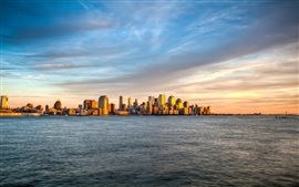 Preview wallpaper New York, Manhattan island sunset sea sky landscape